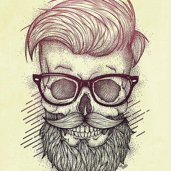 Hipster is Dead, drawing, painting, illustration, digital, ink. retro, vintage, hipster, skull, skulls, skeleton, 90's,