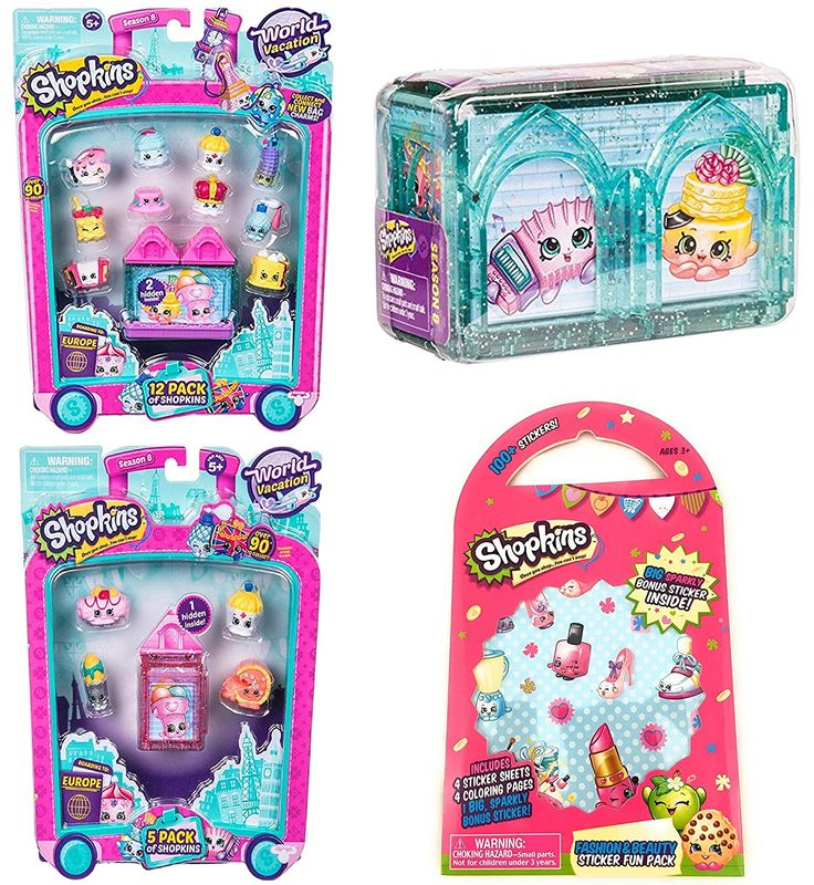 AmazonSmile: Shopkins World Vacation Season 8 Europe Gift Bundle includes 12 Pack, 5 Pack, 2 Pack and (Bonus 100+ Stickers, 4 Coloring Pages and 1 Big Sparkly Sticker): Toys & Games