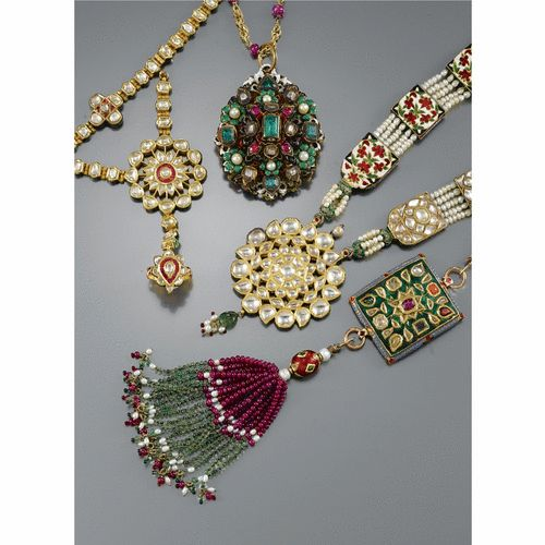 THREE GEM-SET NECKLACES AND A HAND JEWEL | Lot | Sotheby's