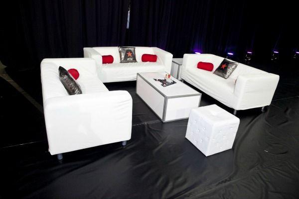 Sports Theme Party Ideas - White Sports Theme Bar Mitzvah Lounge - mazelmoments.com