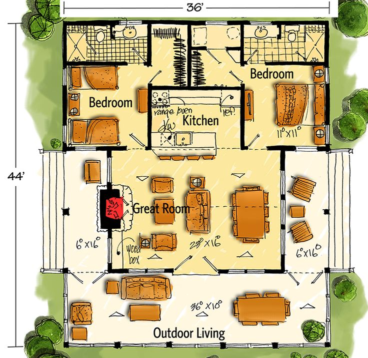 Plan 12947kn bunkhouse plan with options porch for Log siding house plans