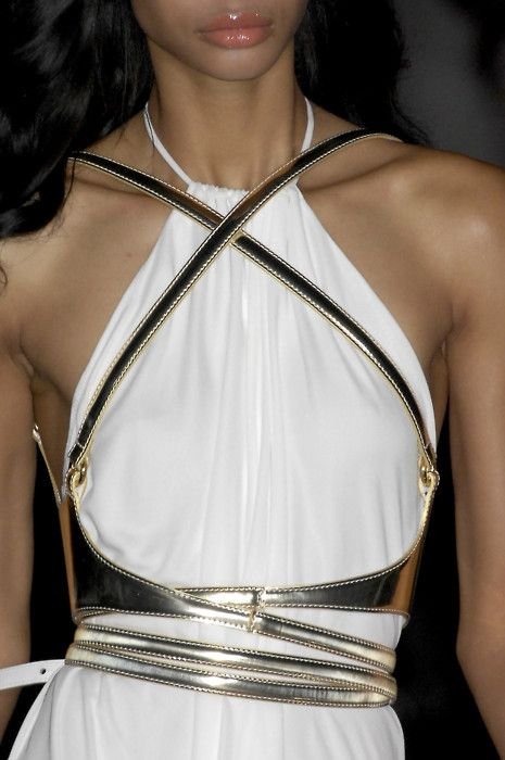 i wouldn't wear this but its an awesome futuristic take on the greek goddess look