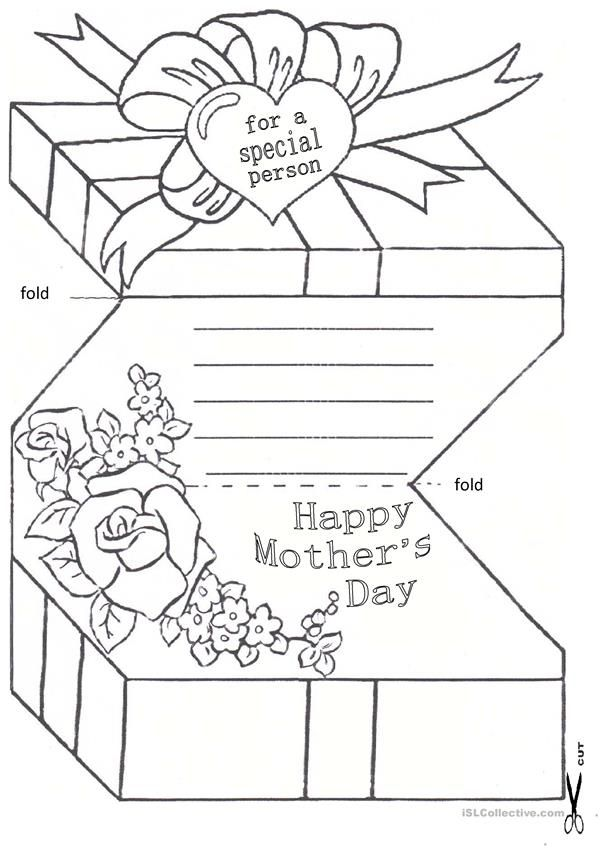 Mother S Day Card English Esl Worksheets Mothers Day Coloring Cards Mothers Day Crafts For Kids Mothers Day Cards