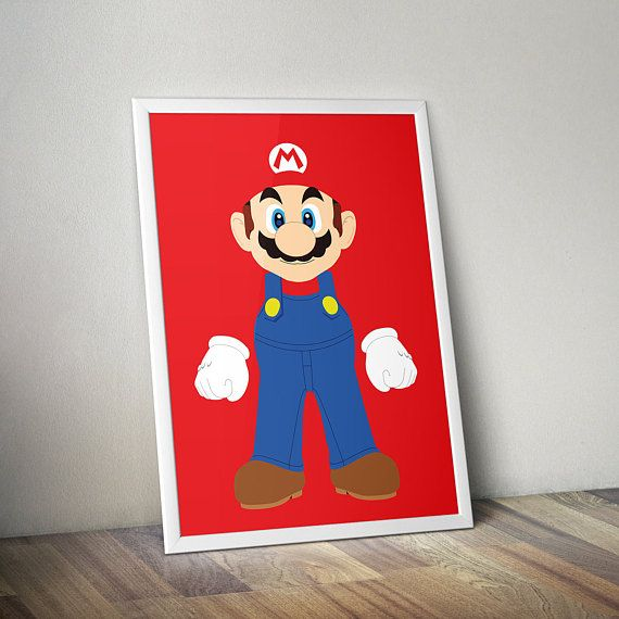 Mario Poster Print - A2 Size | Digital Download | Wall Art | Video Game Art | MinimalistGamer Gift, Boyfriend Gift
