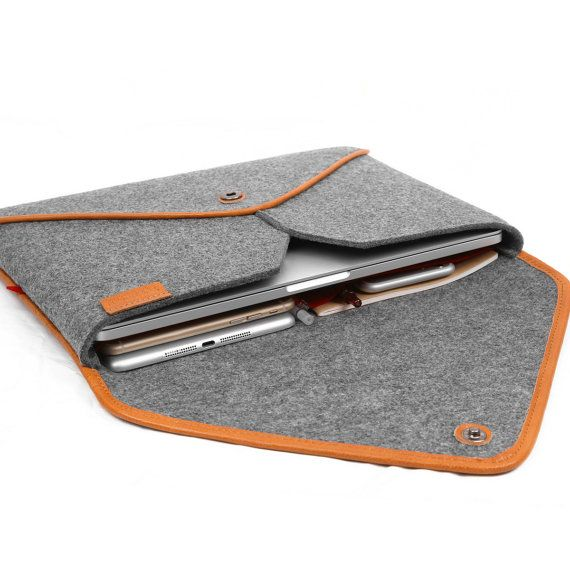 13Macbook Sleeve Handmade Wool Felt Bag for Macbook Pro by TopHome