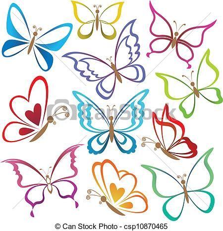Vector - Conjunto, Extracto, mariposas - stock de ilustracion, ilustracion libre de, stock de iconos de clip art, logo, arte lineal, retrato de EPS, Retratos, gráficos, dibujos gráficos, dibujos, imágenes vectoriales, trabajo artístico, Arte Vectorial en EPS