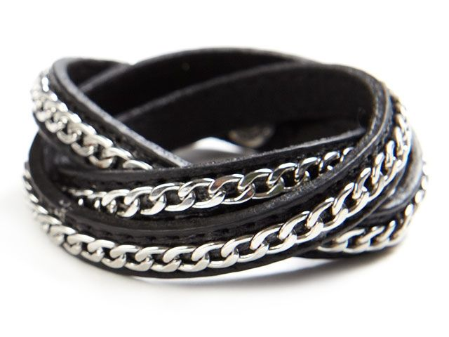 Black leather wrapped with silver chain xo