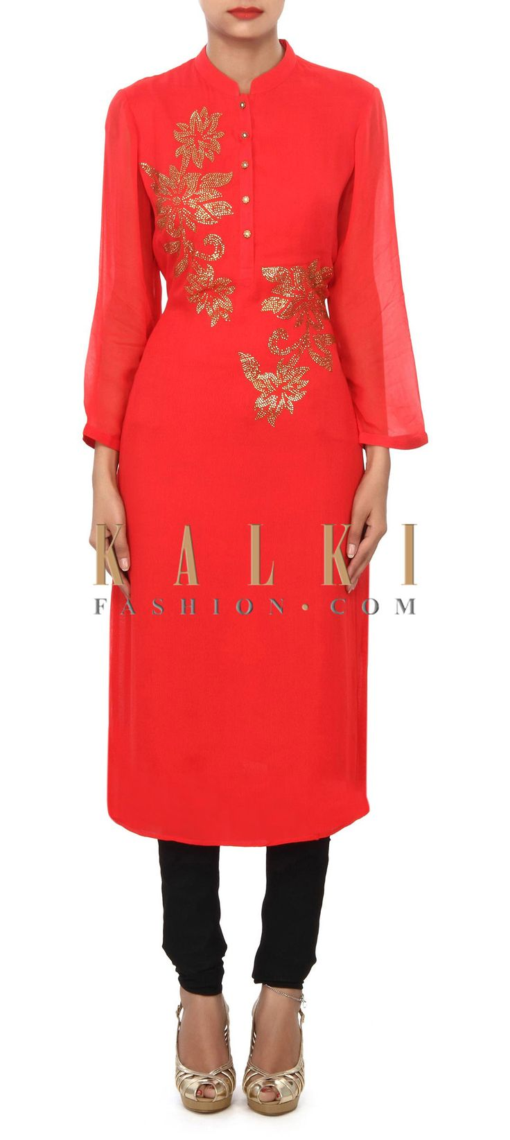 Buy Online from the link below. We ship worldwide (Free Shipping over US$100) Price- $59 Click Anywhere to Tag http://www.kalkifashion.com/cherry-red-kurti-embellished-in-kundan-embroidery-only-on-kalki.html