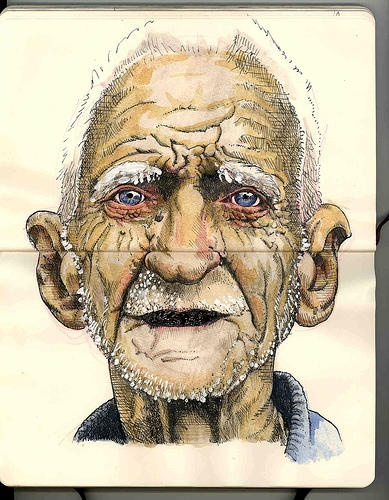 Old Man on Moleskine/ the shapes, the lines, the color, everything is complex