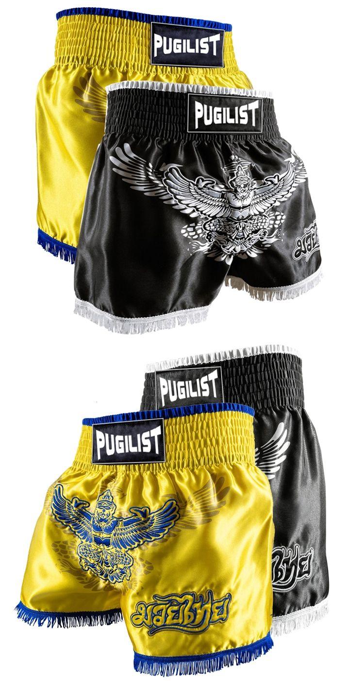 PUGILIST MMA short MUAY THAI SHORTS FIGHT SHORTS Muay Thai  shorts yellow/black 28 30 32 34 36