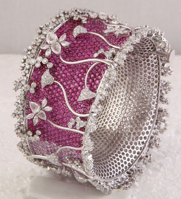 Ruby Bracelet Studded With Round Diamonds, Marquise And Rose Cut Diamonds. An Exclusive Design From Kuber Diamonds.