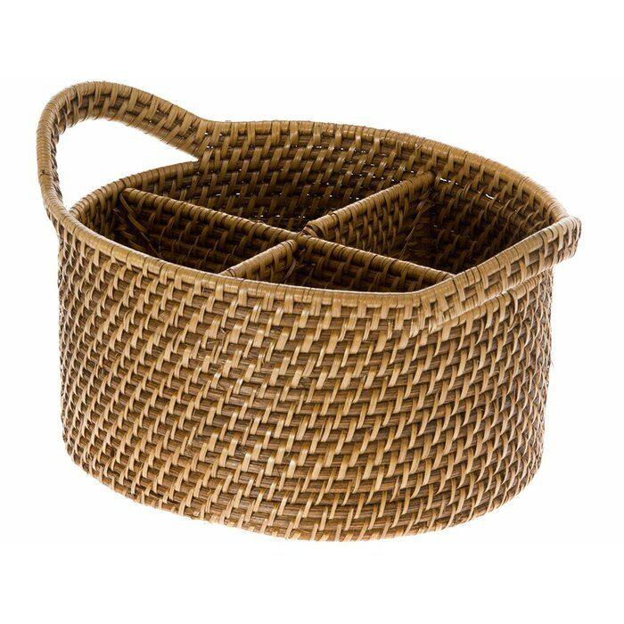 Stretford Handwoven Oval Rattan Flatware Caddy Reviews Joss Main Utensil Caddy Honey Brown Basket