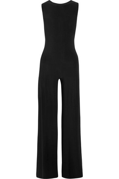 Norma Kamali - Elephant Open-back Stretch-jersey Jumpsuit - Black - small