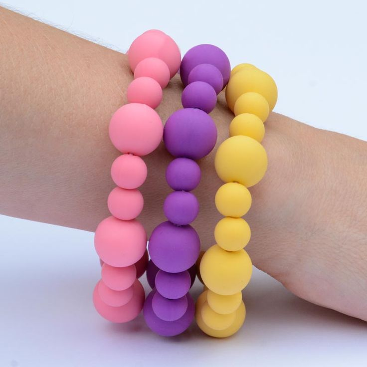 BubbaGummy Bracelet Trio. This trio of bubble style teething bracelets is our signature colour scheme. Fun, delicious colours.