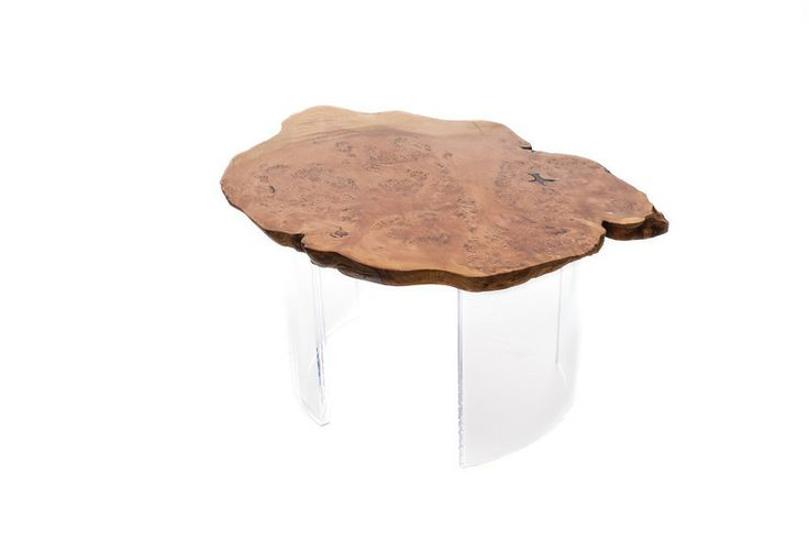 1970 Table: Aged cedar burl juxtaposed with curved acrylic legs (18-inch diameter legs). This small collection of burls has been aging since the late 60's. Designed by Kirk Van Ludwig.