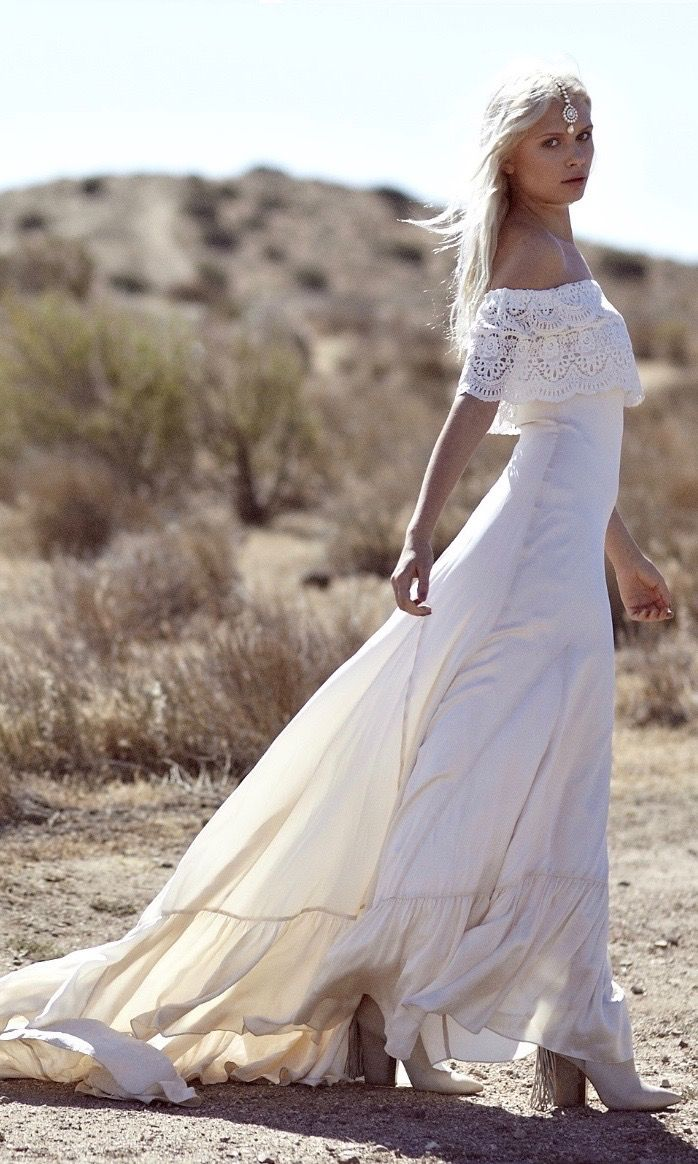 "Bohemian Wedding Dress 1970s Hippie Gown Silk- ""Casablanca"" by Daughters Of Simone"
