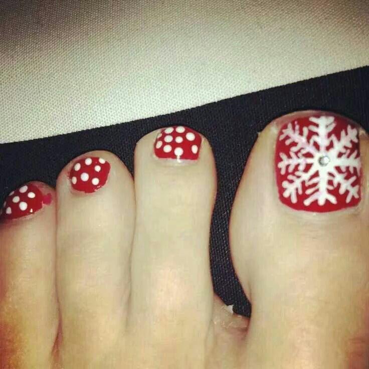 Red White Polka Dot Snowflake Xmas