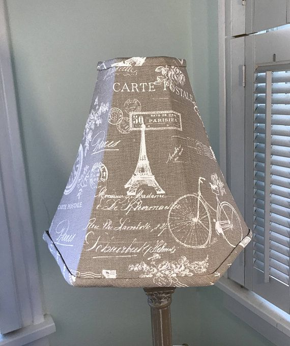 French Lamp Shade French Print Lamp Shade Taupe Lamp Shade