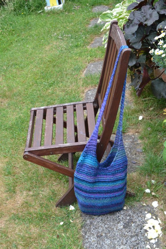 Crochet Tote bag in blue variations by BiziBodyCrafts on Etsy, £30.00