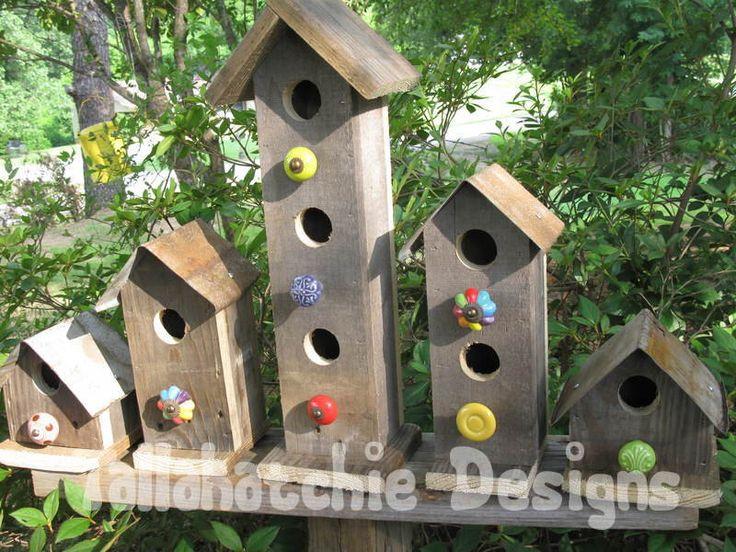 Rustic Birdhouses| Farmhouse Outdoor Decor| Primitive Birdhouses |Functional Birdhouses |Tin Roof Birdhouses| Outdoor Lawn And Garden Decor by TallahatchieDesigns on Etsy https://www.etsy.com/listing/193664930/rustic-birdhouses-farmhouse-outdoor