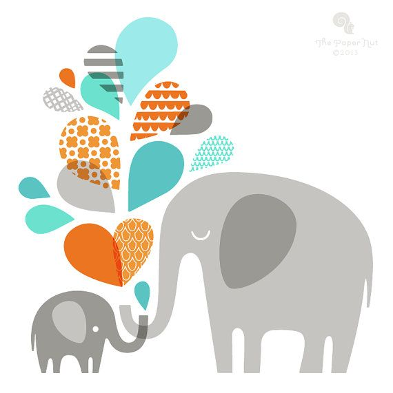 "elephant mommy & baby 12X12"" giclee print on fine art paper. gray, teal turquoise blue, orange"