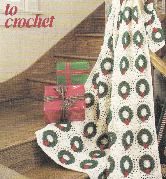 Crochet Afghan Patterns Christmas : Christmas Afghan Crochet Patterns - Wreath, Poinsettia ...