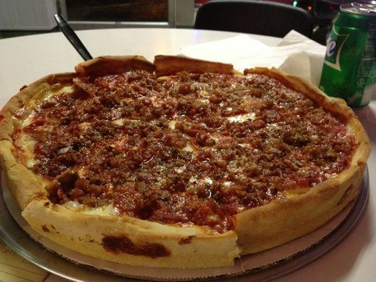 Deep dish ... Pepperoni, Bacon, Sausage South of Chicago Pizza and Beef, so good!
