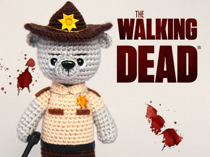 Rick Grimes, Knitted bear The Walking Dead toy bear Knitted teddy Toy Crochet bear Knitted teddy Knitted Toy plush bear serial by LesPositiveToys on Etsy https://www.etsy.com/listing/530994701/rick-grimes-knitted-bear-the-walking
