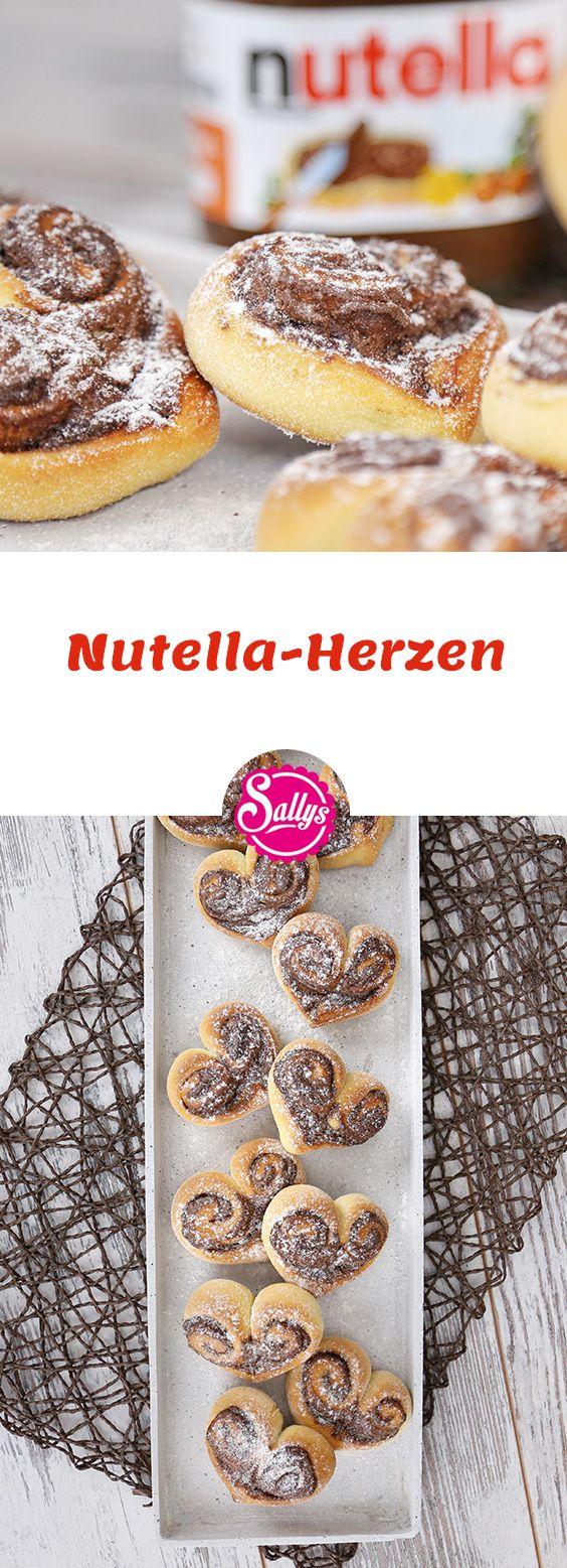 Süße Hefeteig-Herzen mit Nutella-Füllung. Schnell gemacht und eine tolle Übe …
