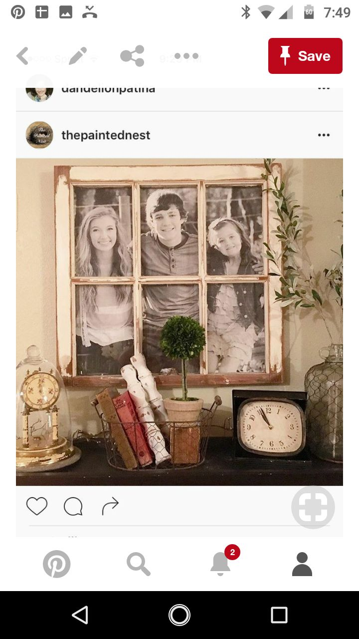 Aleene's antique windows frames from her 1912 childhood home. Darling to use in the stylizing of her new designed home.