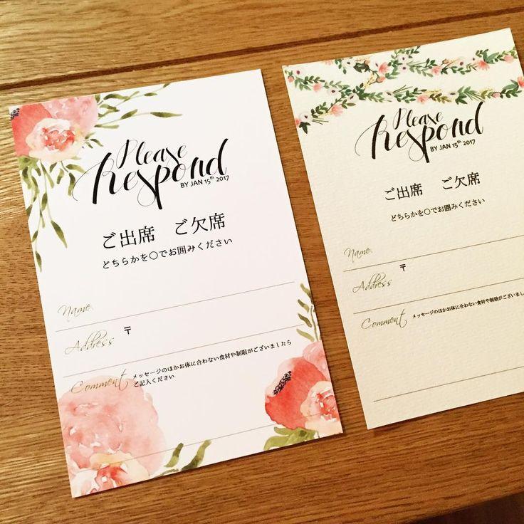 「✽・:..。o¢o。..:・✽・:..。o¢o。..:・✽ #結婚式準備 #招待状 #招待状手作り #手作り招待状 #結婚式DIY #招待状DIY #プレ花嫁 #T&G #アーカンジェル迎賓館 #アーカンジェル迎賓館平尾 #福岡花嫁 今日は招待状に同封する返信ハガキのデザイン、フォントを修整しました…」