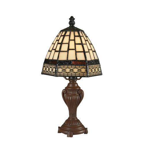 Table Lamp Bedside Study Bedroom Tiffany Glass Bronze Light Read Shade Small  New