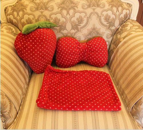 Plush Stuffed Strawberry Cushion/Bow Pillow/Blanket Home Three-Piece Setat EVToys.com