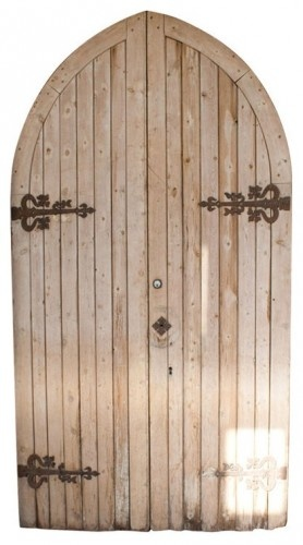 Pair of Gothic pitch pine chapel doors