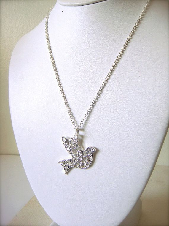 PEACE ON EARTH dove necklace charity silver by PASSIONandPAISLEY, $19.00: Royals Blue, Necklaces Charity, Dove Necklaces, Earth Dove, Charity Silver