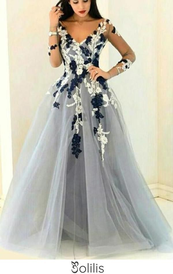 Gray Organza V Neck Long Sleeves See Through Handmade Flowers A Line Prom Dresses Uk Js353 In 2020 Prom Dresses Long With Sleeves Grey Prom Dress Prom Dresses Ball Gown