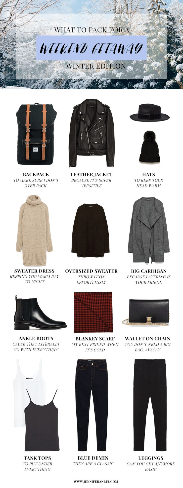 What to pack for a winter weekend getaway guide  What to pack packing guide what to wear for a winter weekend getaway winter vacation packing