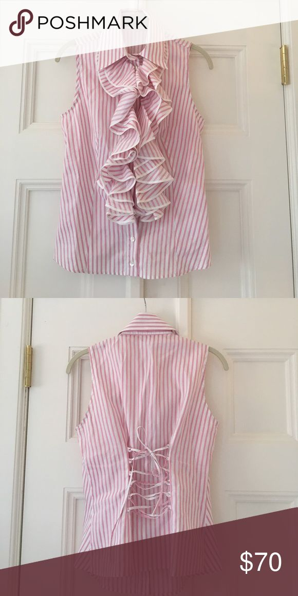 Selling this Pink & White Anne Fontaine Corset Blouse Size 40 on Poshmark! My username is: greenwichstyle. #shopmycloset #poshmark #fashion #shopping #style #forsale #Anne Fontaine #Tops