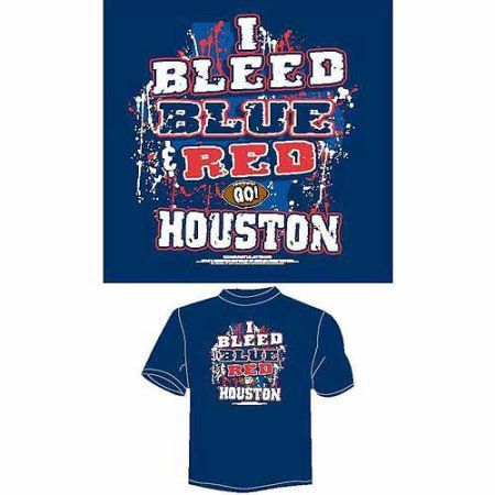Houston Football I Bleed Blue and Red, Go Houston T-Shirt, Blue, Men's, Size: Large