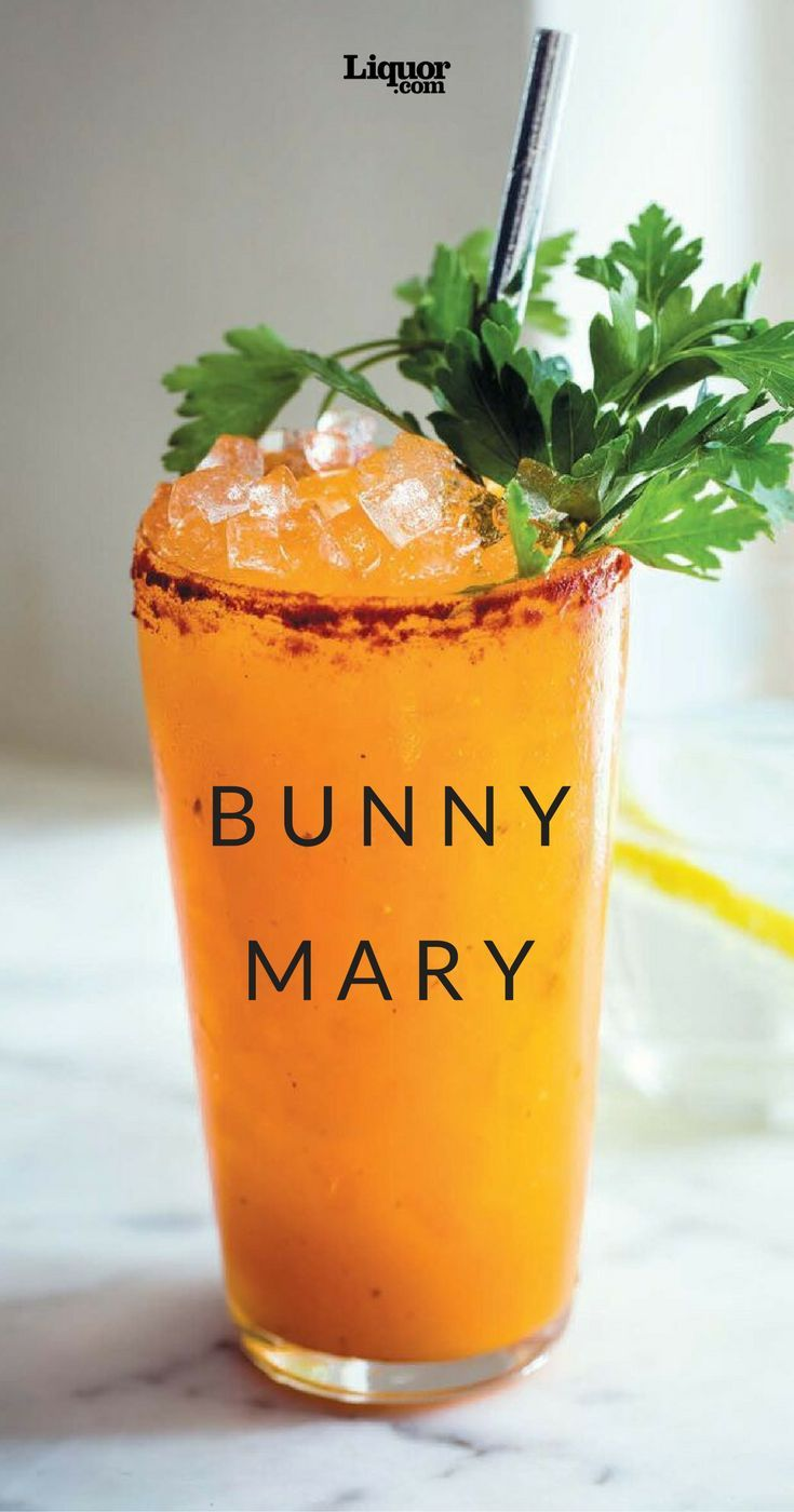 Carrots, cayenne and caper brine, yes. Tomatoes, no! The Bunny Mary, created by Extra Fancy's Rob Krueger in New York City, gets its vibrant hue from carrot juice, punched up with savory carrot brine and a spicy cayenne-and-paprika rim for the glass.