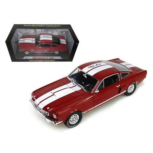 1966 Ford Shelby Mustang GT350 Red with White Stripes With Printed Carroll Shelby Signature On The Roof 1/18 Diecast Model Car by Shelby Collectibles