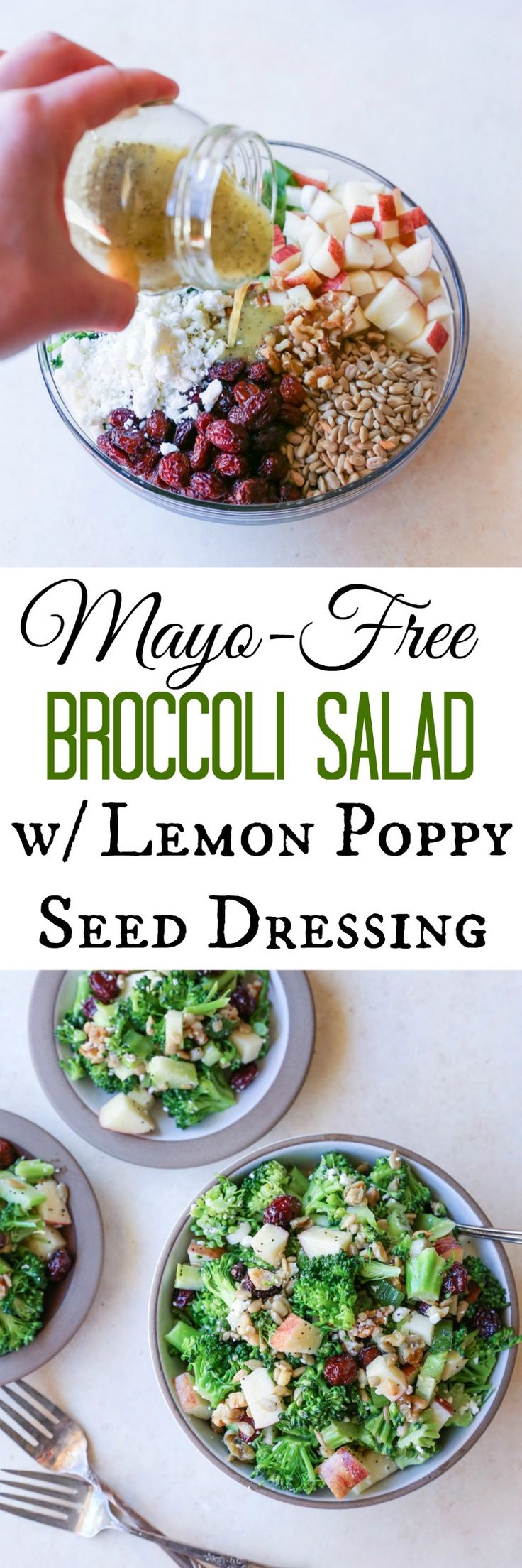Mayo-Free Broccoli Salad with Lemon Poppy Seed Dressing | TheRoastedRoot.net #healthy #vegetarian #recipe