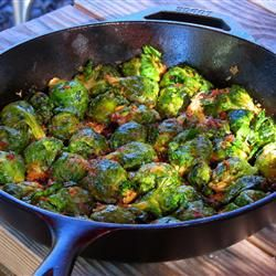 Pan Fried Brussels Sprouts-good recipe. Didn't use onion or garlic powder