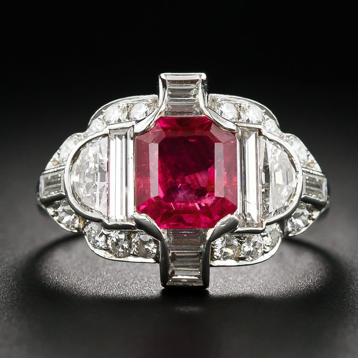 Exceptional Art Deco No-Heat Burma Ruby, Platinum and Diamond Ring - 30-1-5489 - Lang Antiques