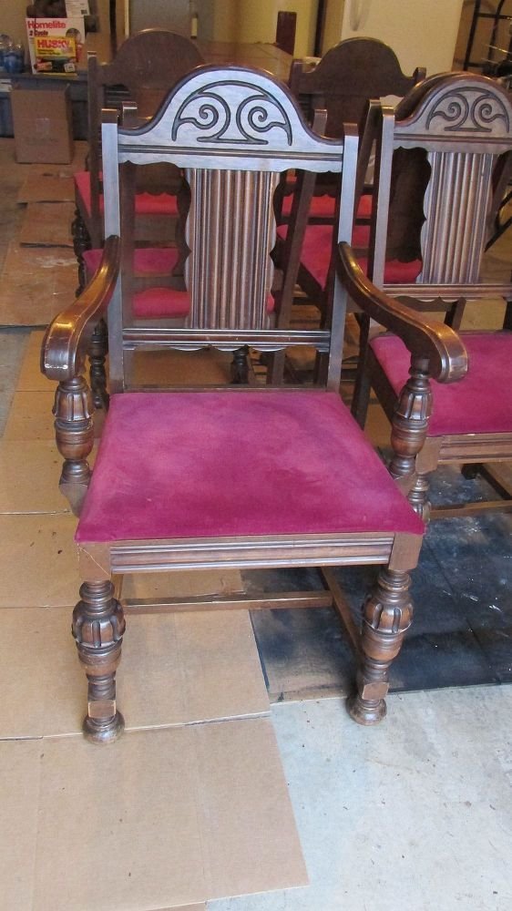 diy 1920 s vintage table chairs redo, home decor, living room ideas, painted furniture, BEFORE Old Raspberry Upholstery Underneath was original peach velvet upholstery Two layers was brutal to remove Only cut myself twice on old rusty tacks lol