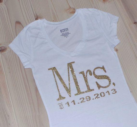 Mrs. VNeck. Personalized date TShirt Top. Bride by JMTboutique, $22.00
