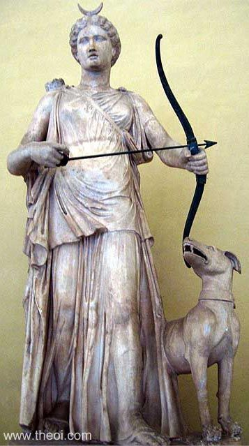 Artemis (Roman Diana) crowned with the crescent moon, wearing a quiver, and wielding a bow. Note: the crescent and bow are probably non-original Renaissance era restorations.