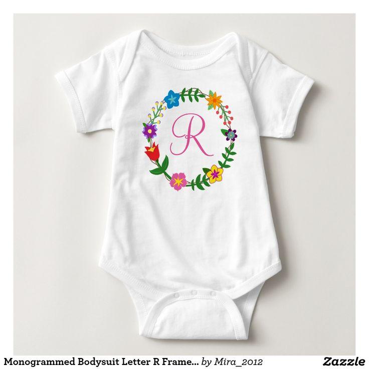 Monogrammed Bodysuit Letter R Frame Flowers. new baby, one-year-old birthday, or Christmas gift for a girl whose name starts with R: Rachel, Rebecca, Rafaella, Raea, Rae, Rain, Radelle, Ruth, Rose, Riley, Renee, Robin, Rita, Rhianna, Rashelle, Roxanne, Ramona, Reese, Reggi, Regina, Roberta, Rosalie, Rosalind, Rhea, Rosa, Rosie, Remy, Renate, Reina, Rhonda, Rayna, Rona, Rania, Rafa, Rafika, Radella, and so on. There are two types of cursive R letters to choose from + all other letters