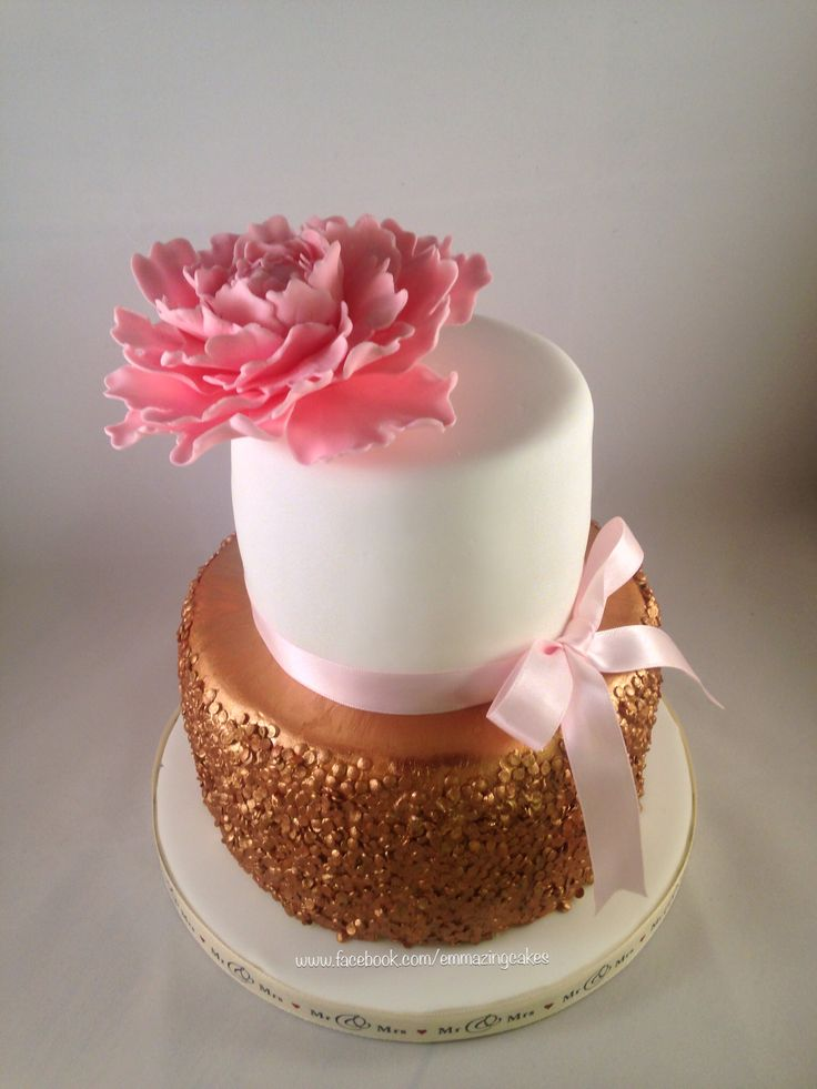 Gold sequin wedding cake with handmade peony. See more at www.facebook.com/emmazingcakes