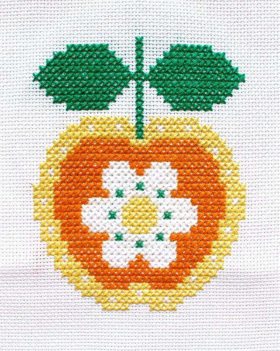 Cross Stitch Pattern, 'Retro Apple Flower' PDF. Turn the `Retro Apple Flower upside down and discover its not just an adorable apple, but also a
